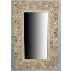Marco c/espejo con incrustaciones de conchas y arena de 66x4x100cm
