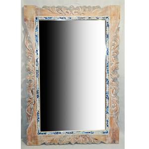 Marco con espejo labrado y orilla de cristales azules de 80x4x120cm