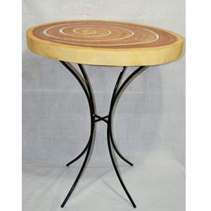 Mesa diseño tronco de madera con base de metal e incrustaciones de espejos de 60x62x75cm