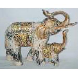 Elefante de madera con bebe terminado antiguo de 42x10x40cm