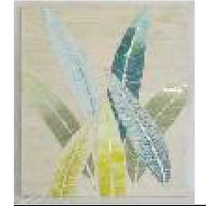 Cuadro diseño hojas con incrustaciones de espejos de 65x5x95cm