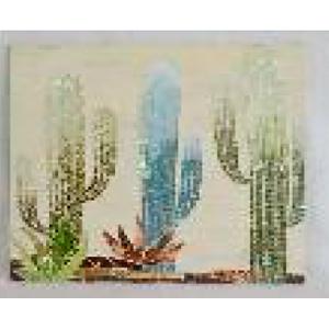 Cuadro diseño Cactus con incrustación de espejos de 60x4x60cm