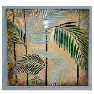 Cuadro diseño plantas con incrustaciones de espejos de 80x4x80cm