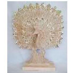 Decoración diseño Pavorreal de madera con incrustaciones de espejos de 56x15x78cm