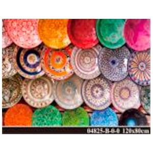 Cuadro de acrilico diseño de platos de colores de 120x80cm