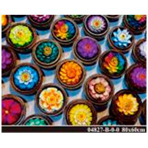 Cuadro de acrilico con esferas de flores de colores de 60x80cm