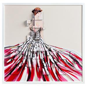 Cuadro de mujer con vestido largo rojo en 3D de 105x105cm