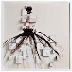 Cuadro de mujer con vestido largo blanco en 3D de 105x105cm