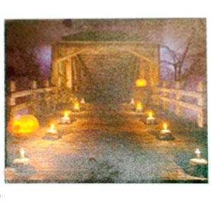 Cuadro diseño Halloween de puente con luz led (usa baterias doble AA) de 40x40cm