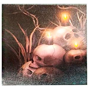 Cuadro diseño Halloween de cráneos con luz led (usa baterias doble AA) de 40x40cm