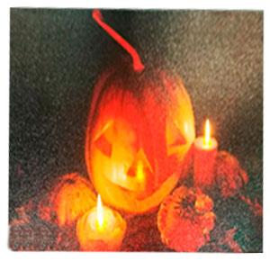 Cuadro diseño Halloween de Calabazas con luz led (usa baterias doble AA) de 30x40cm