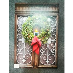 Cuadro de ventana con corona Navideña con luz led (usa baterias doble AA) de 40x60cm