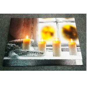 Cuadro diseño paisaje nevado y velas con luz led (usa baterias doble AA) de 40x60cm