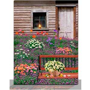 Cuadro con estampado de cabaña y flores con luz led usa 2 baterias AAA de 30x40x1.8cm