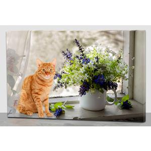 Cuadro estampado gato en venta con flores con luz led de 60x40x1.8cm
