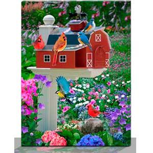 Cuadro estampado de aves y flores de con luz led de 30x40x1.8cm