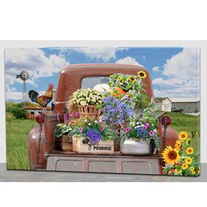 Cuadro estampado camioneta con flores y luz led de 60x40x1.8cm