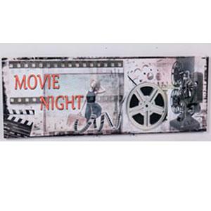 Cuadro rectangular con diseño Cintas de Cine de 30x90x2.5cm