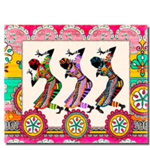 Cuadro a colores diseño Mujeres Africanas bailando de 30x40x1.5cm
