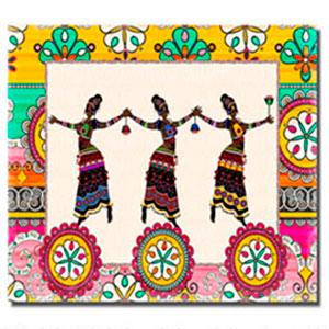 Cuadro a colores diseño Mujeres Hindúes bailando de 30x40x1.5cm