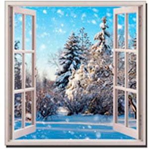 Cuadro de ventana diseño Paisaje Nevado (A) de 50x50x1.8cm
