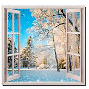 Cuadro ventana diseño Paisaje Nevado (B) de 50x50x1.8cm