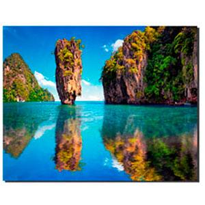 Cuadro diseño paisaje montañas y mar de 50x70x1.8cm