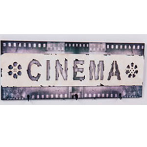 Cuadro diseño Cinta de Cine con 3 perchas de 30x90x2.5cm