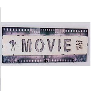 Cuadro diseño Cinta de Cine con 3 perchas de 30x90x4cm