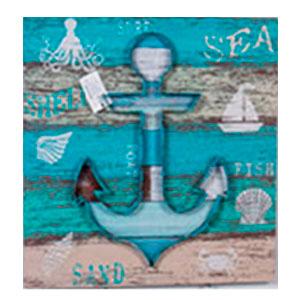 Cuadro diseño Ancla y decoraciones Marinas de 50x50x3.5cm