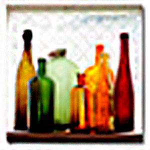 Cuadro diseño botellas de cristal de colores de 40x40x1.5cm