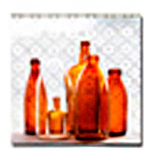 Cuadro diseño botellas de cristal cafés de 40x40x1.5cm