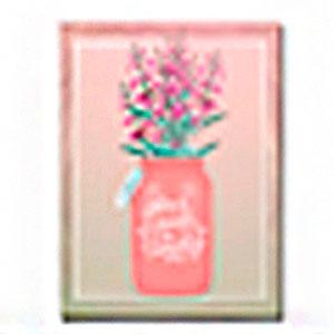 Cuadro diseño florero rosa y Flores de moradas de 30x40x1.5cm