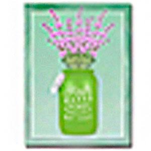 Cuadro diseño florero verde y Flores de moradas de 30x40x1.5cm