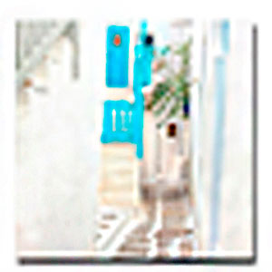 Cuadro diseño Casa con escaleras Blancas de 40x40x1.5cm