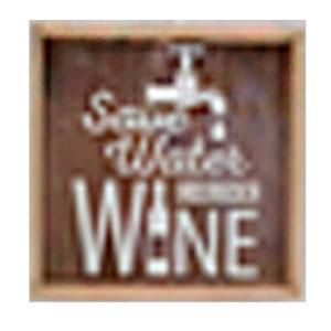 Cuadro de madera diseño Letrero de Vino de 25x25x5.5cm