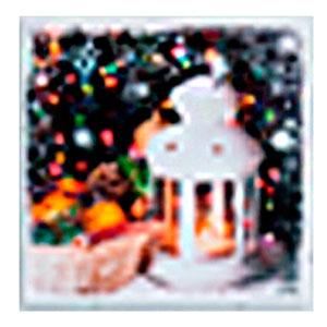 Cuadro diseño Linterna con árbol navideño y luz Led de 40x40x1.8cm