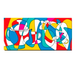Cuadro diseño Teteras en muchos colores de 38x80x1.8cm