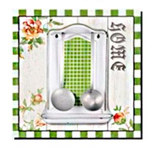 Cuadro diseño Perchero blanco con verde de 40x40x1.5cm