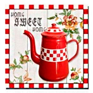 Cuadro diseño Tetera roja de 40x40x1.5cm