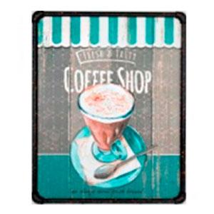 Cuadro c/marco de metal diseño Letrero de Café en tonos azules de 40x50x3cm
