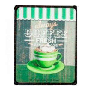 Cuadro c/marco de metal diseño Letrero de Café en tonos verdes de 40x50x3cm