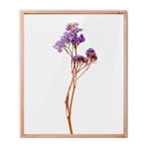 Cuadro c/marco de madera y pantalla de acrilico diseño Vara de flores moradas de 30x40x2cm