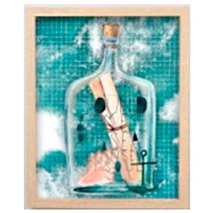 Cuadro c/marco de madera y pantalla de acrilico diseño Botella y fondo azul de 40x50x3cm