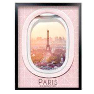 Cuadro de madera y pantalla de acrilico diseño Ventanilla de Avión y paisaje de Paris de 45x60x3cm