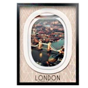 Cuadro c/marco de madera y pantalla de acrilico diseño Ventanilla de Avión y paisaje de 45x60x3cm