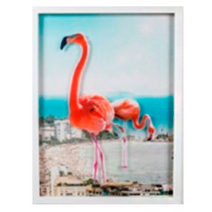 Cuadro c/marco de madera y pantalla de acrilico diseño Flamingos de 60x80x4cm