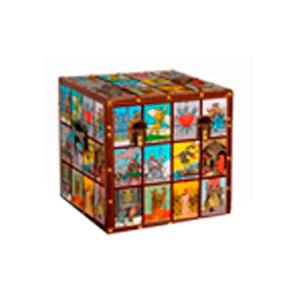 Caja de madera con estampado de Cartas de Loteria y estoperoles de 40x40x40cm