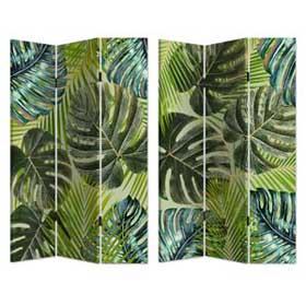 Biombo de madera con estampado de Hojas verde de 120x180cm