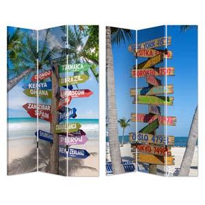 Biombo de madera con estampado de letreros de direccion en la playa de 120x180cm